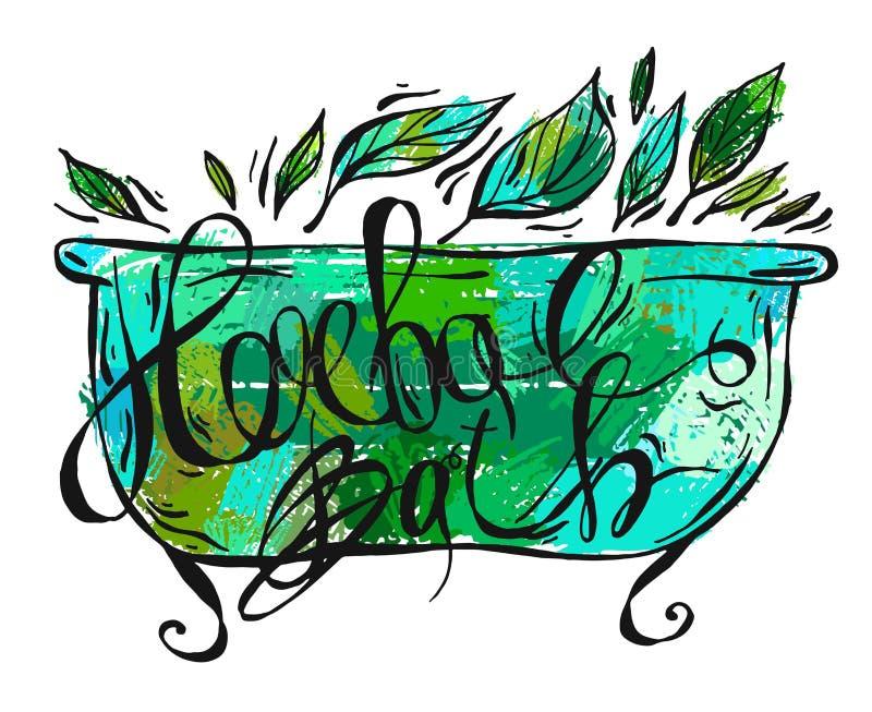 Ręka rysująca wektorowa ziołowa kąpielowa ilustracja Ziołowe etykietki dla ręki śmietanki, relaksu oleju i skąpanie piany, boksuj ilustracja wektor