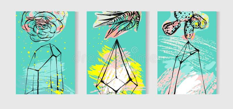 Ręka rysująca wektorowe tropikalne karty ustawiająca kolekcja z dom roślinami, sukulentami i kaktus roślinami, Skandynawa styl ilustracja wektor