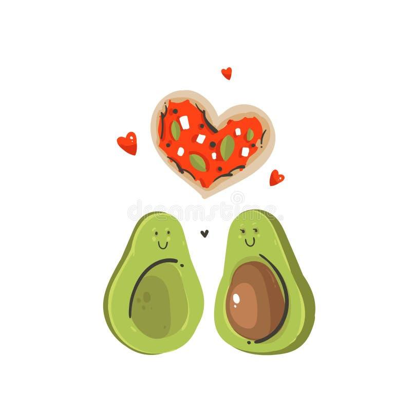 Ręka rysująca wektorowej abstrakcjonistycznej kreskówki walentynek dnia pojęcia ilustracj Szczęśliwa karta z avocado pizzaheart i ilustracja wektor