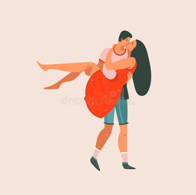 Ręka rysująca wektorowej abstrakcjonistycznej kreskówki walentynek dnia pojęcia ilustracji sztuki nowożytna graficzna Szczęśliwa  ilustracji