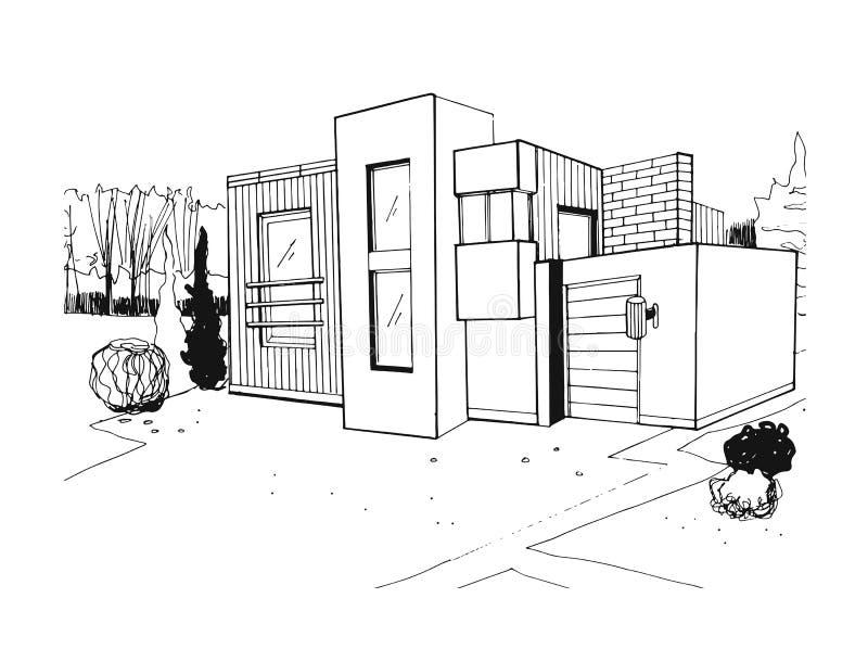 Ręka rysująca willa nowożytny intymny mieszkaniowy dom Czarny i biały nakreślenie ilustracja ilustracji