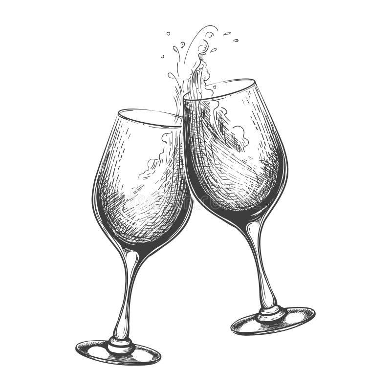 Ręka rysująca wino grzanka zdjęcie stock