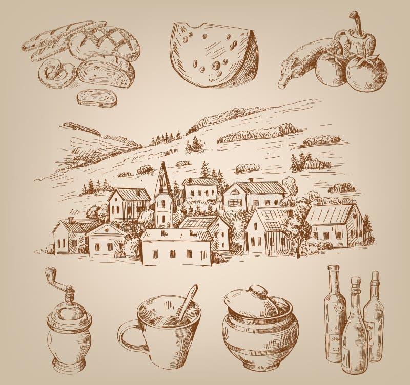 Ręka rysująca wioska royalty ilustracja