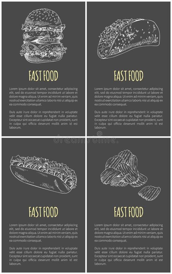 Ręka Rysująca Wynosi żywność plakat dla Snackbar ilustracja wektor