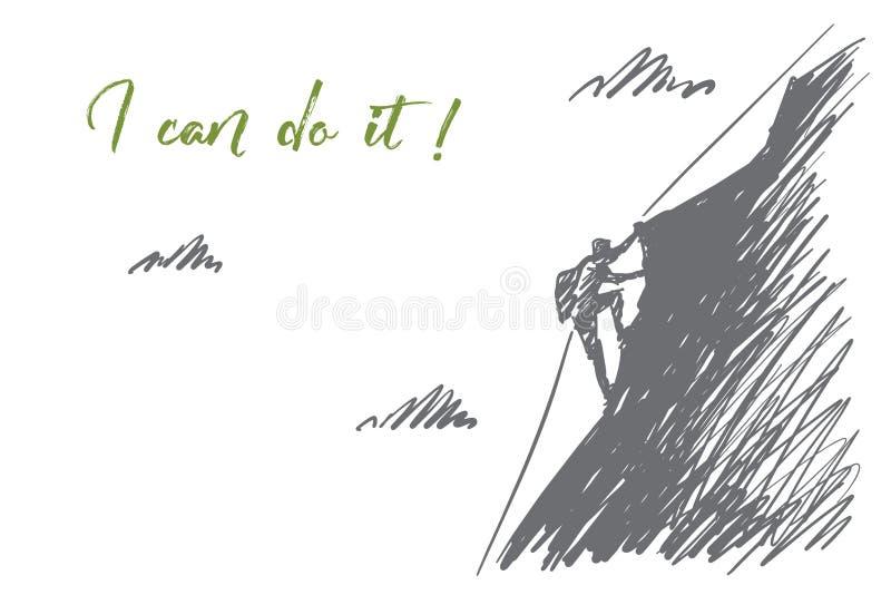 Ręka rysująca wysokogórzec wspinaczkowa up góra royalty ilustracja