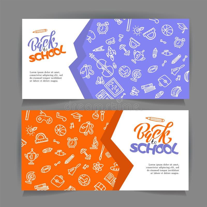 Ręka rysująca z powrotem szkoła sztandary Set Wektorowi edukacja projekta pojęcia z ręka rysującymi konturu doodle elementami ?li royalty ilustracja