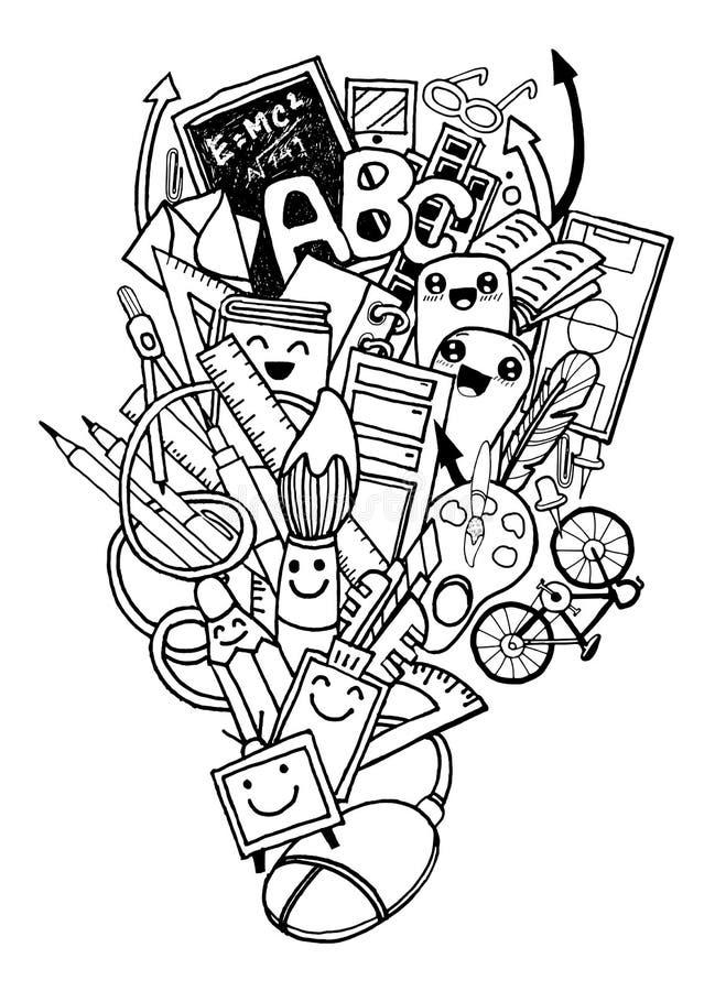 Ręka rysująca Z powrotem szkoły doodle set royalty ilustracja