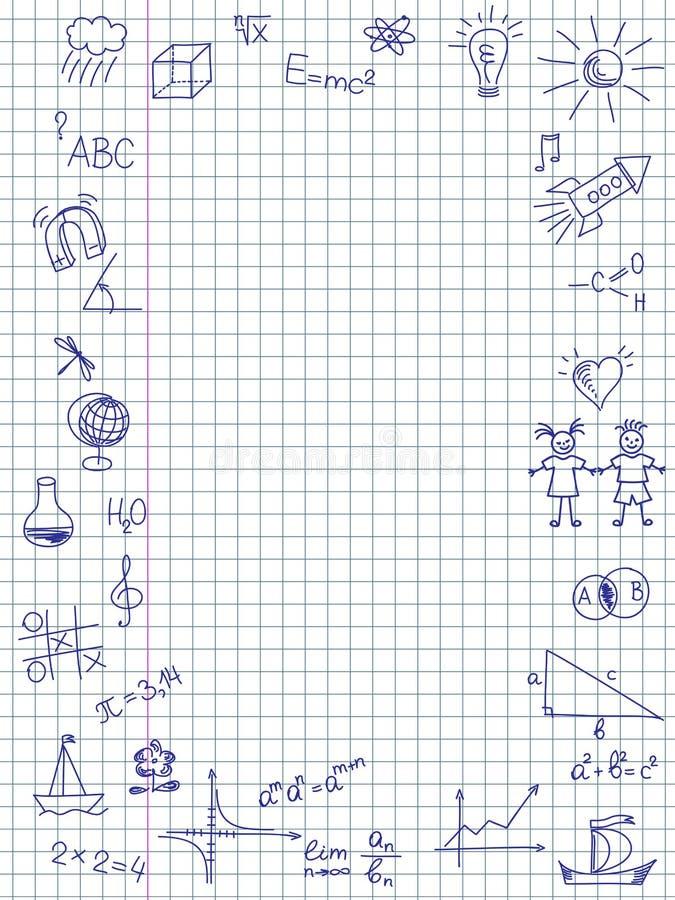 Ręka rysująca Z powrotem szkoły nakreślenie ilustracji
