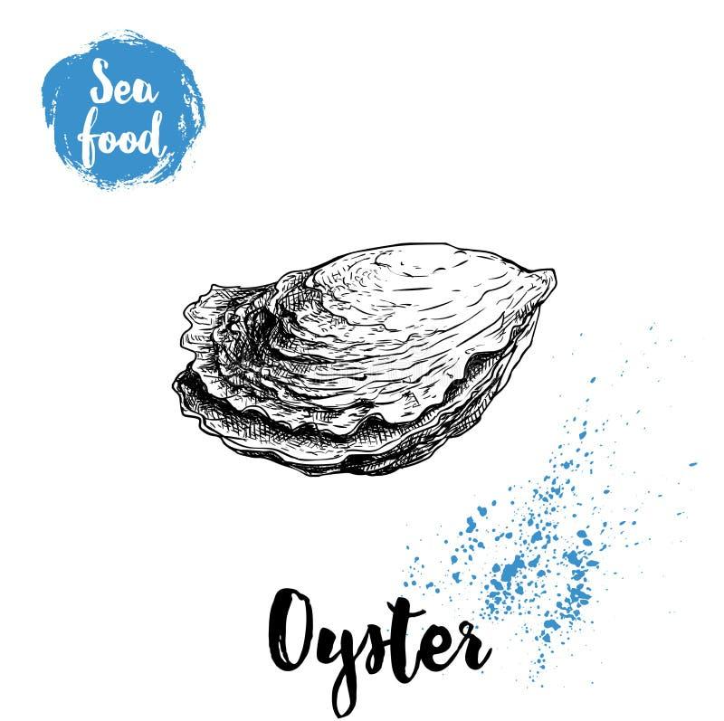 Ręka rysująca zamknięta ostrygowa skorupa Owoce morza nakreślenia stylu ilustracja Świeży morski mollusk ilustracji