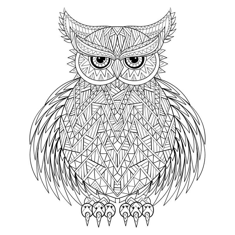 Ręka rysująca zentangle sowa ilustracji