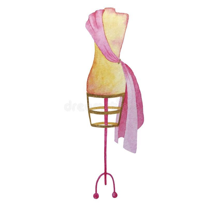 Ręka rysującej akwareli różowy i beżowy rocznika wieszak ilustracji