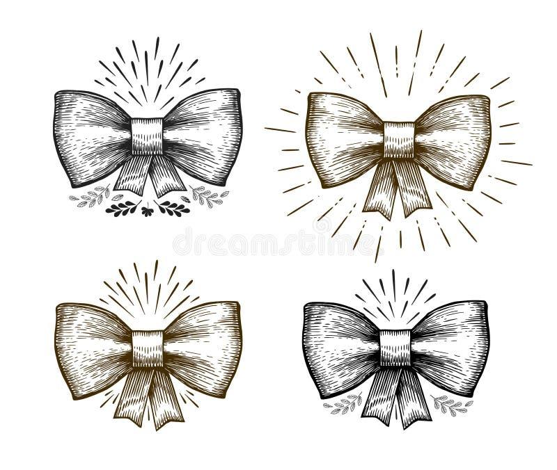 Ręka rysujący łęk Wakacyjny symbol Bowknot nakreślenie, wektorowa ilustracja royalty ilustracja