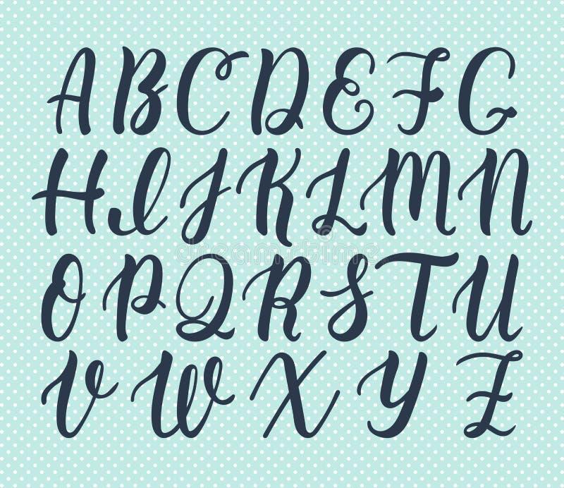 Ręka rysujący łaciński kaligrafii muśnięcia pismo kapitałowi listy Kaligraficzny abecadło wektor royalty ilustracja
