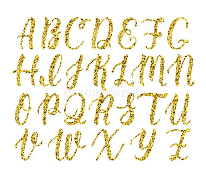 Ręka rysujący łaciński kaligrafii muśnięcia pismo kapitałowi listy Złocisty błyskotliwości abecadło wektor ilustracja wektor