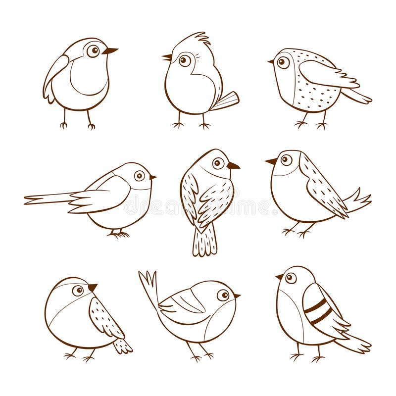 Ręka rysujący śliczni mali ptaki ilustracji
