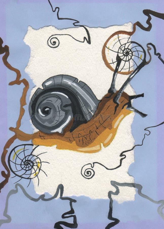 Ręka rysujący ślimaczek na białym tle ilustracja wektor