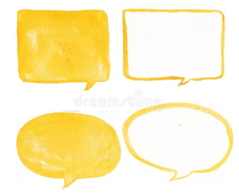 Ręka rysujący żółty bąbel mowy akwareli set, bąbel akwarela Żółty bąbel ilustracji