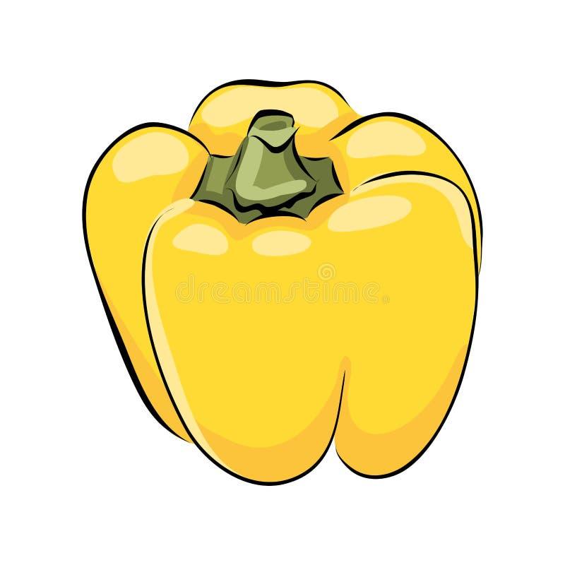 Ręka rysujący żółty capsicum royalty ilustracja