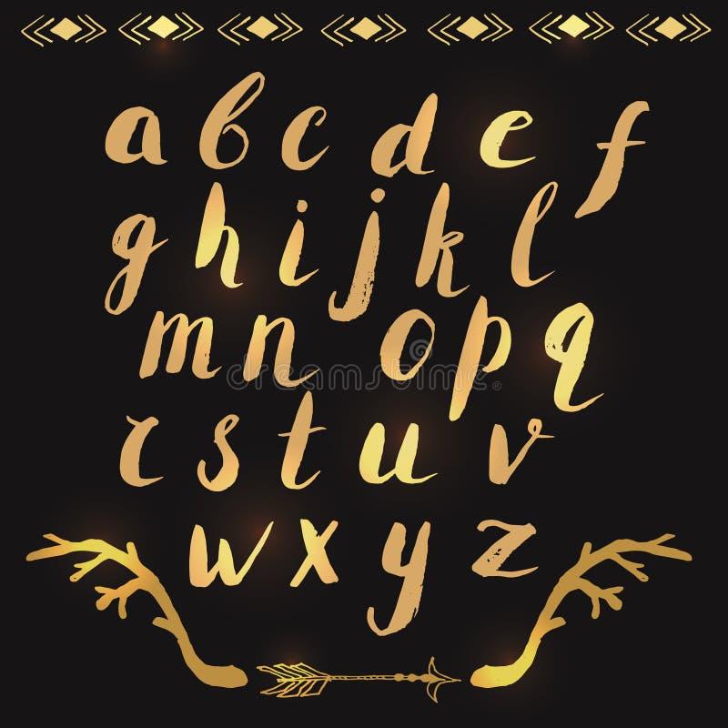 Ręka rysujący abecadło listy w złocie royalty ilustracja