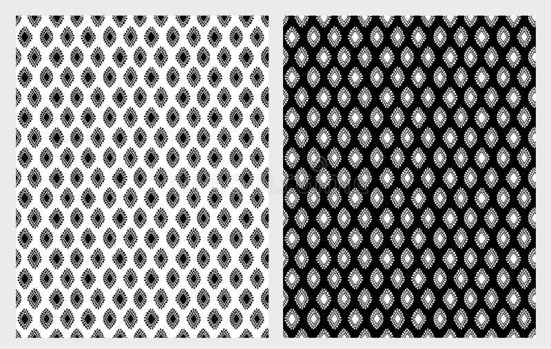 Ręka Rysujący Abstrakcjonistyczni Rhombus wektoru wzory Ustawiający Śliczny Czarny I Biały projekt ilustracja wektor
