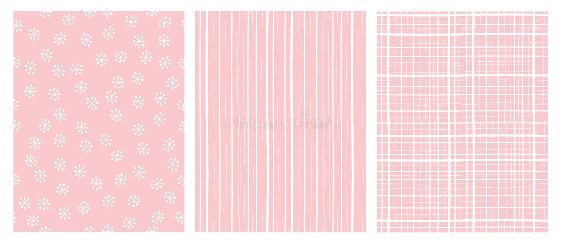 Ręka Rysujący Abstrakcjonistyczni wektorów wzory Biały i Różowy Infantylny projekt Lampasy i śniegów płatki ilustracji