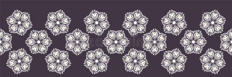 Ręka rysujący abstrakcjonistyczny boże narodzenie kwiatu granicy wzór Stylizowanej poinsecji kwiecisty sztandar Czarny bia?y t?o  zdjęcie royalty free