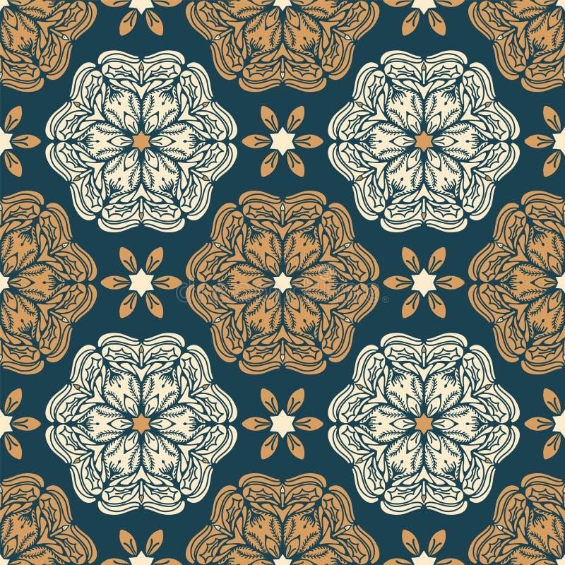 Ręka rysujący abstrakcjonistyczny Bożenarodzeniowy kwiatu wzór Stylizowanej poinsecji mandala kwiecisty tło Zima wakacje po całym ilustracji