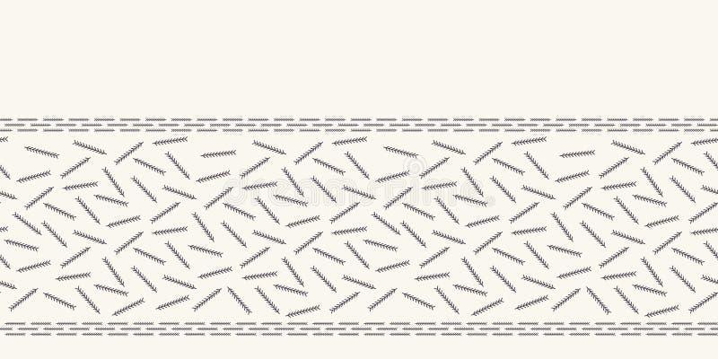 Ręka rysujący abstrakcjonistyczny Bożenarodzeniowy sosnowy igły granicy wzór Malutki rzucany ulistnienie na białym ecru tle ?licz ilustracji