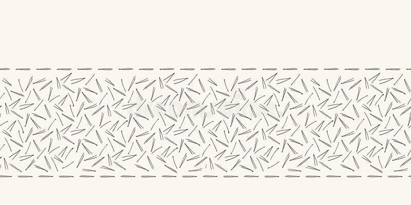 Ręka rysujący abstrakcjonistyczny Bożenarodzeniowy sosnowy igły granicy wzór Malutki rzucany ulistnienie na białym ecru tle ?licz royalty ilustracja