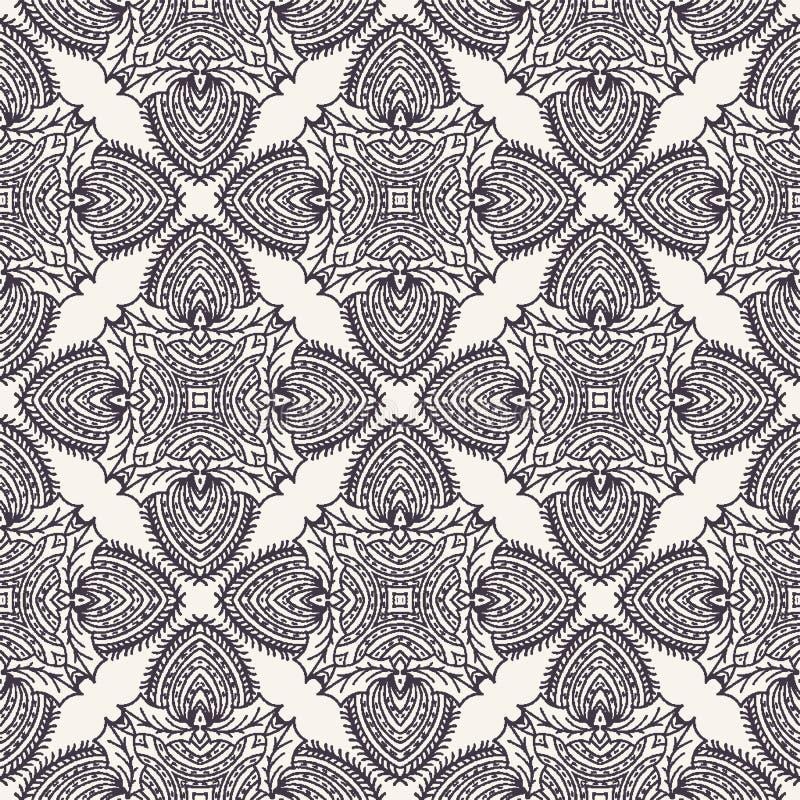 Ręka rysujący abstrakcjonistyczny Bożenarodzeniowy ulistnienie wzór Uświęconego motywu adamaszka dekoracyjny tło Zima wakacje po  ilustracja wektor