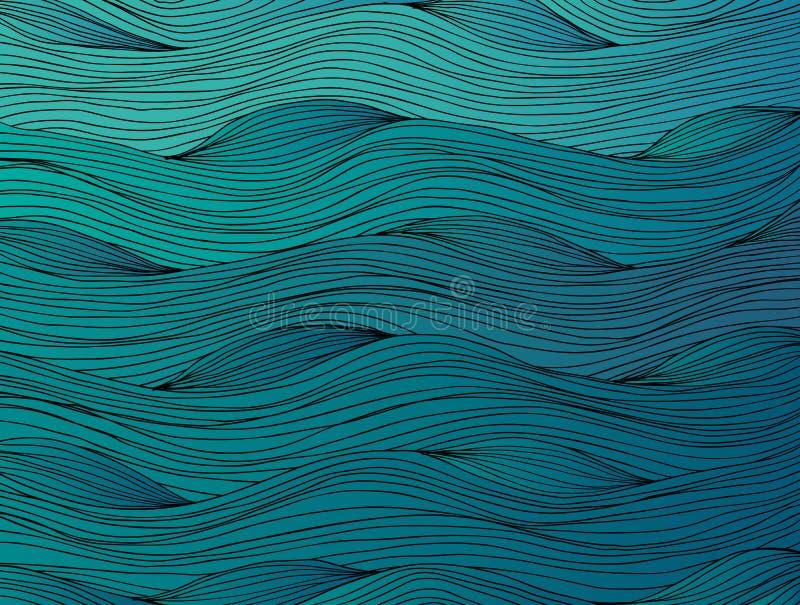 Ręka rysujący abstrakcjonistyczny ocean fala tło royalty ilustracja