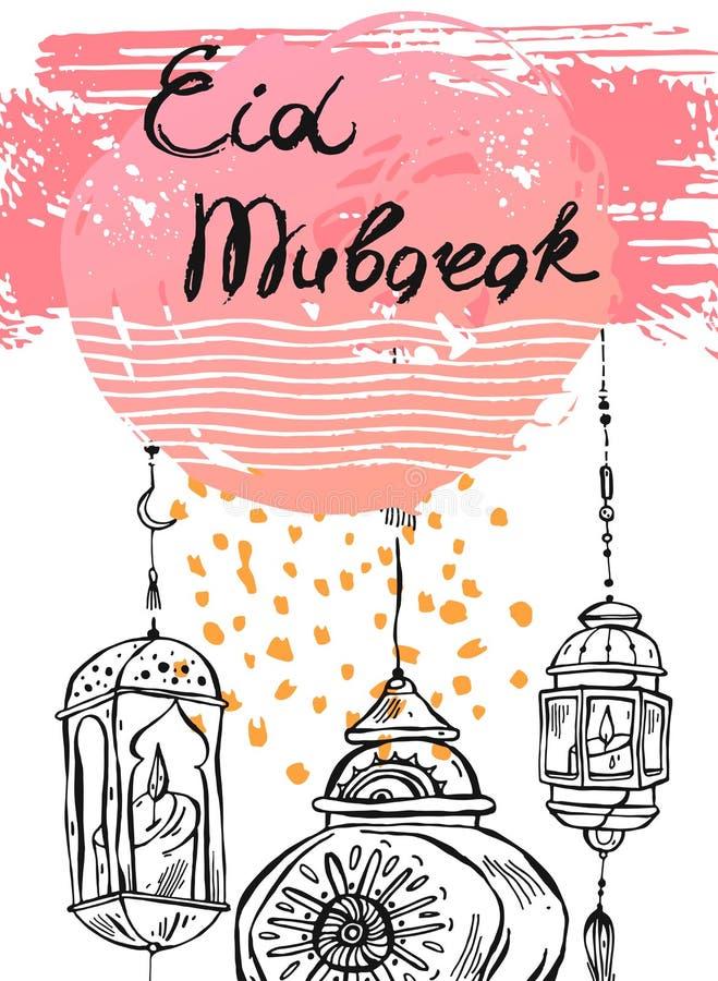 R?ka rysuj?cy abstrakcjonistyczny Ramadan kareem karty szablon Wektor karta dla Eid Mubarak ilustracja wektor