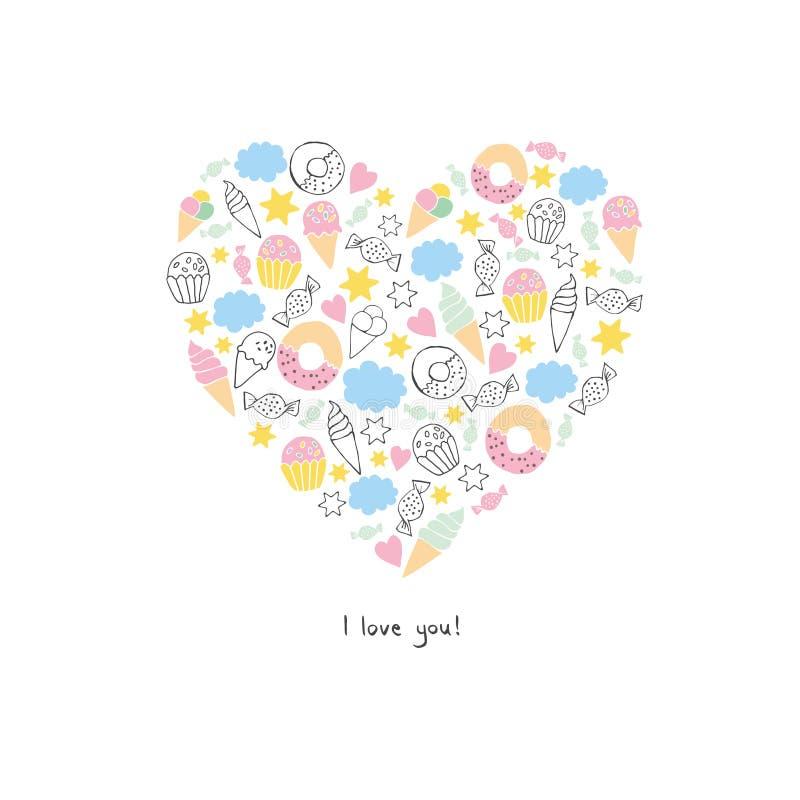 Ręka Rysujący Abstrakcjonistyczny serce Robić cukierki Cukierki, Donuts, lody, chmury i Muffins, Biały tło royalty ilustracja