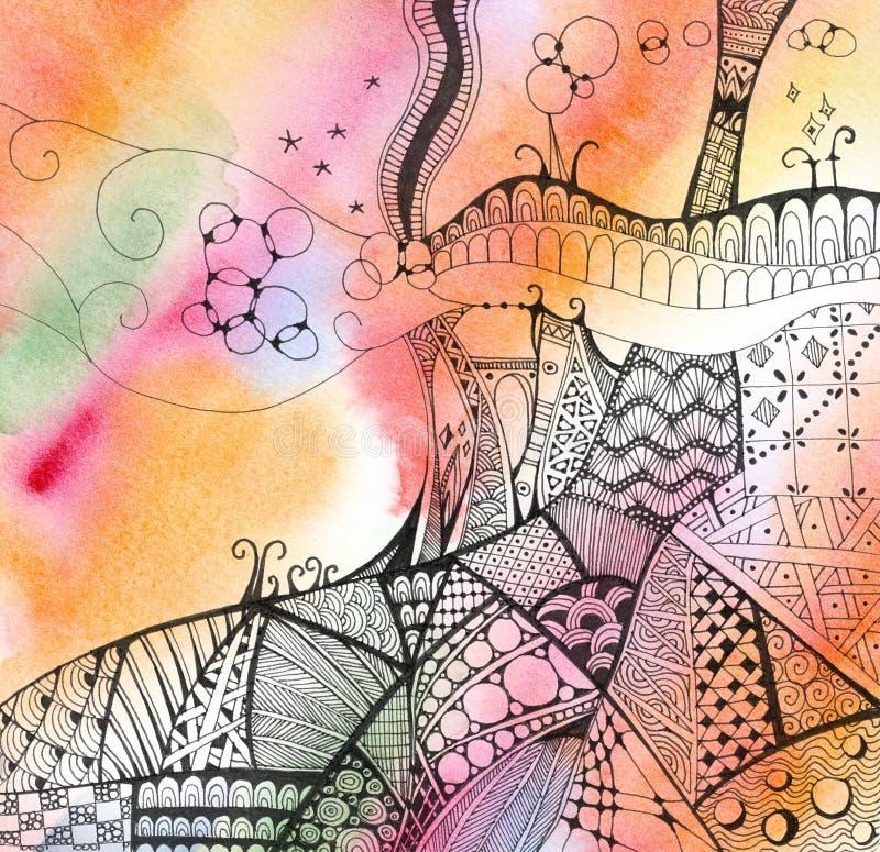 Ręka rysujący abstrakt doodles na jaskrawym akwareli tle fantastyczne krajobrazu royalty ilustracja