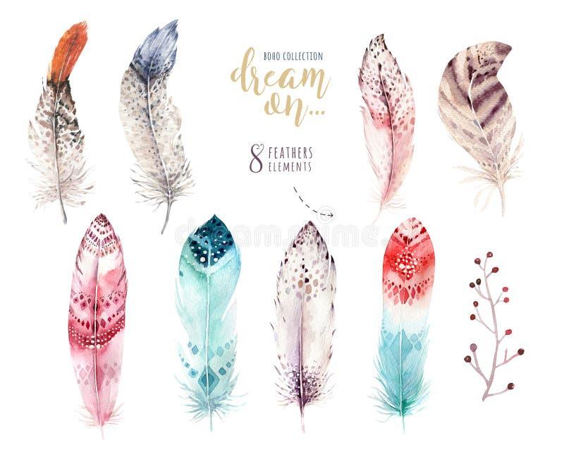 Ręka rysujący akwarela obrazów piórka wibrujący set Boho stylu skrzydła Ilustracja odizolowywająca na biel Ptasi komarnica projek ilustracja wektor