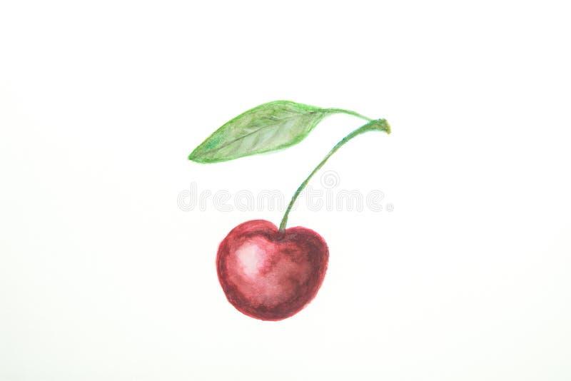 Ręka Rysujący akwarela obraz Dojrzała Soczysta Pojedyncza Słodka wiśnia z trzon zieleni liściem w Doodle dzieciaków stylu Białego fotografia stock
