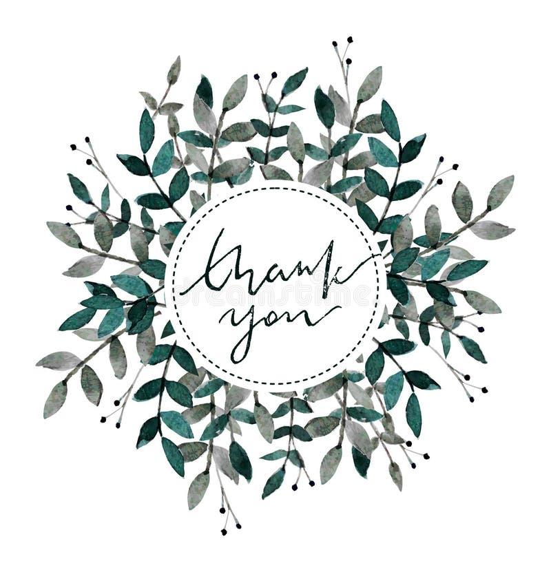 Ręka rysujący akwarela wianek Dziękuje ciebie karcianego z liśćmi i gałąź Akwarela przygotowywająca używać kartę data save royalty ilustracja
