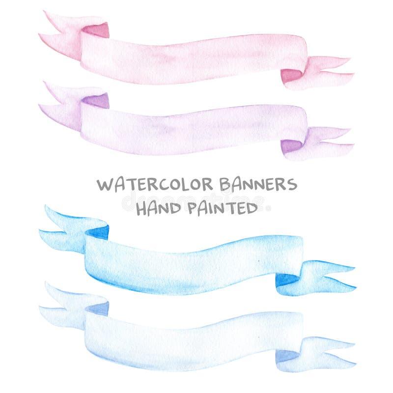 Ręka rysujący akwareli ilustracyjny ustawiający malować tasiemkowych sztandarów różowe purpury zaświeca zmrok - błękit ilustracja wektor
