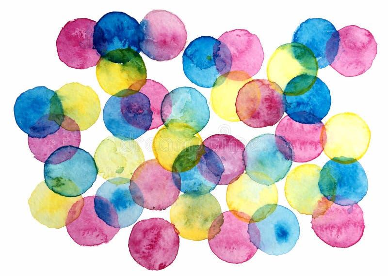 Ręka rysujący akwareli ilustration colorfui okrąża tło royalty ilustracja