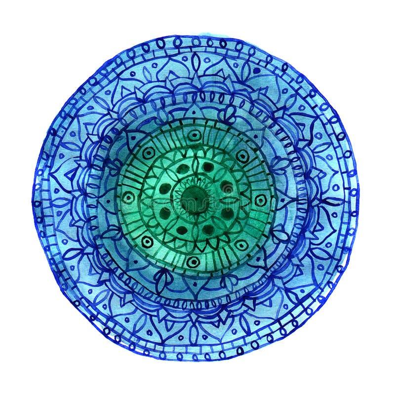 Ręka rysujący akwareli mandala royalty ilustracja