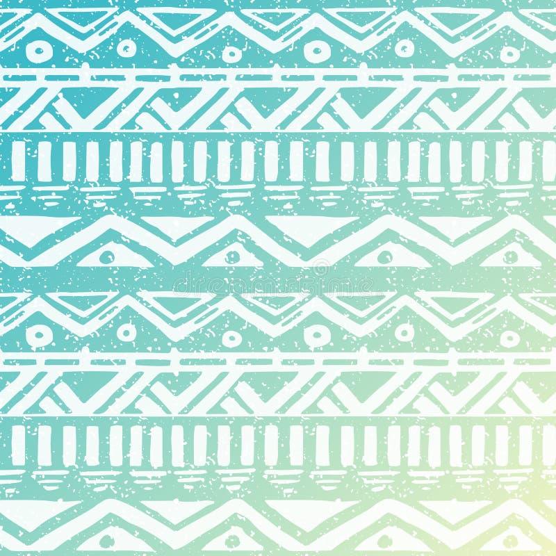 Ręka Rysujący azteka Plemienny Bezszwowy tło royalty ilustracja