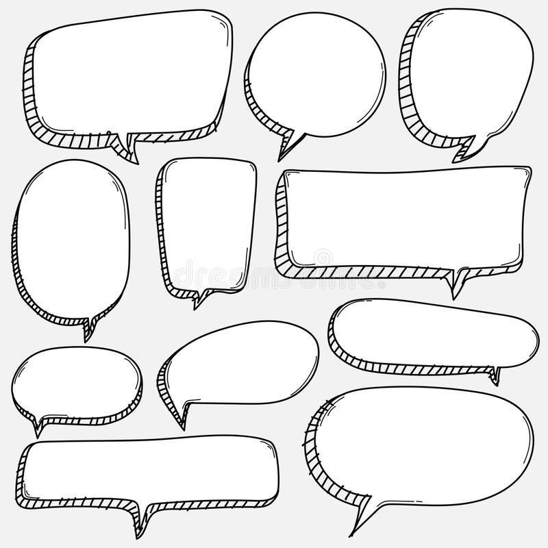 Ręka rysujący bąble ustawiający Doodle komiczki Stylowy balon, Chmurnieje Kształtnych projektów elementy royalty ilustracja