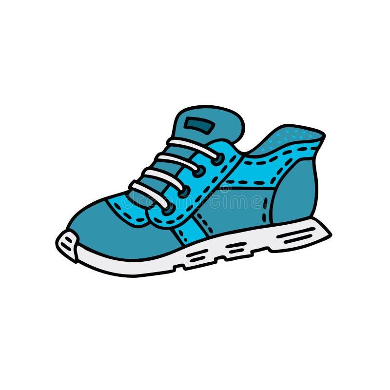 Ręka rysujący błękitów sportów buty wektorowa doodle stylu ilustracja ilustracji