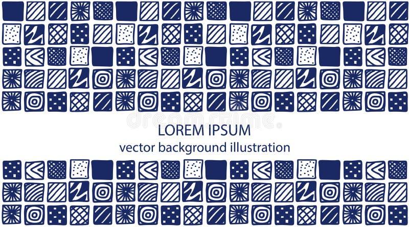 Ręka rysujący błękitni wzorzystość kwadraty royalty ilustracja