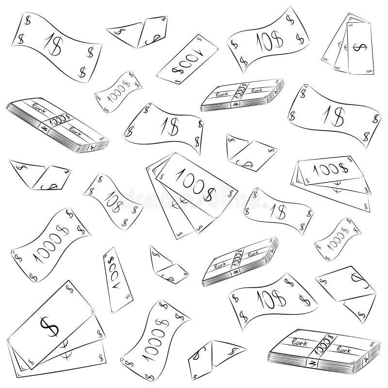 Ręka Rysujący banknoty Doodle pieniądze deszcz Skrobanina rysunki gotówka błyskowy laptopu światła nakreślenia styl royalty ilustracja