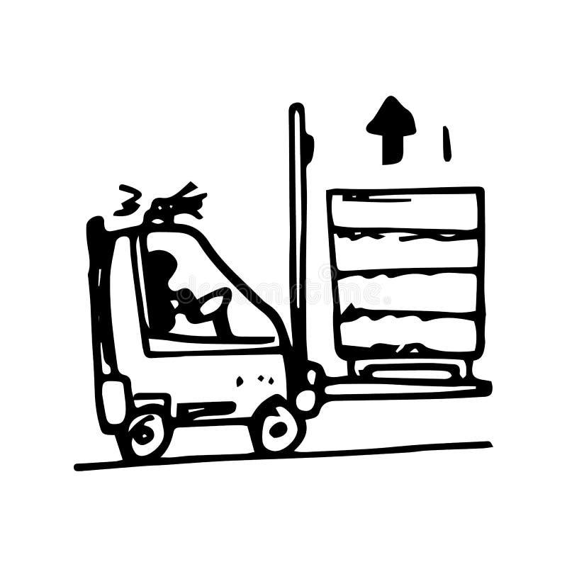Ręka Rysujący barłóg ciężarówki doodle Nakre?lenie stylowa ikona Dekoracja element pojedynczy bia?e t?o P?aski projekt wektor ilustracja wektor
