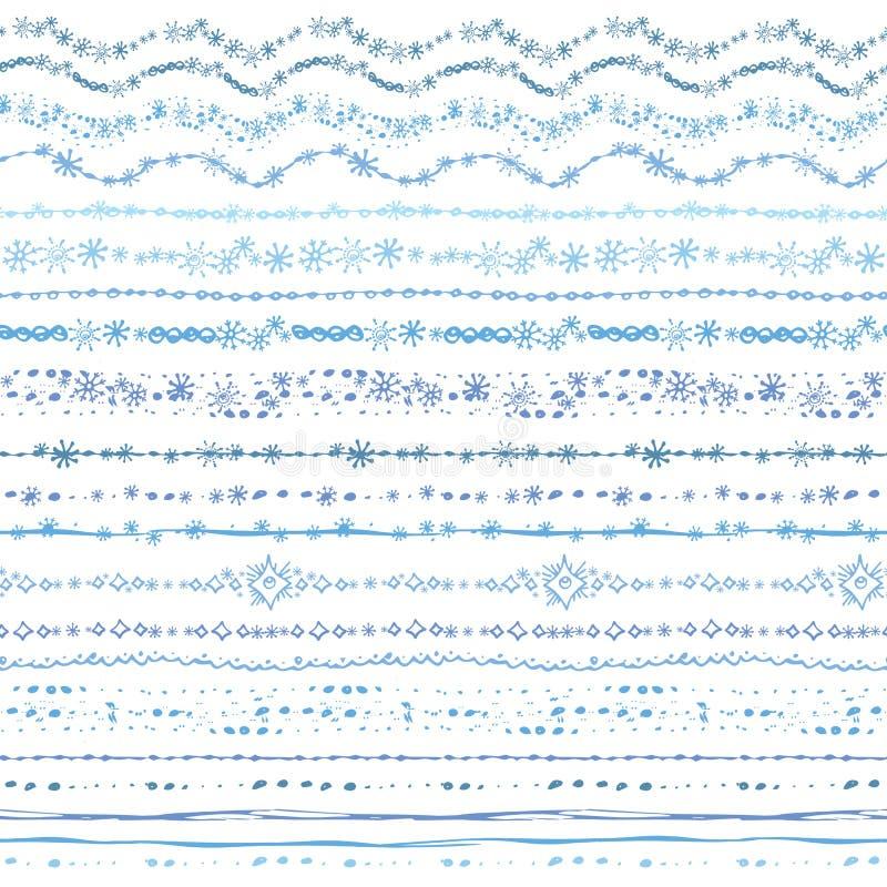 Ręka rysujący bezszwowy kreskowej granicy set Zimy doodle royalty ilustracja