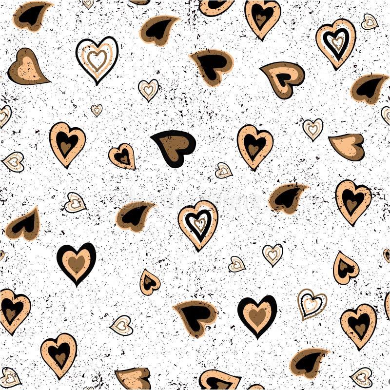 Ręka rysujący bezszwowy tło wzór z sercami Złocisty i czarny tło dla opakunkowego papieru, kartka z pozdrowieniami, plakaty, wewn zdjęcie stock
