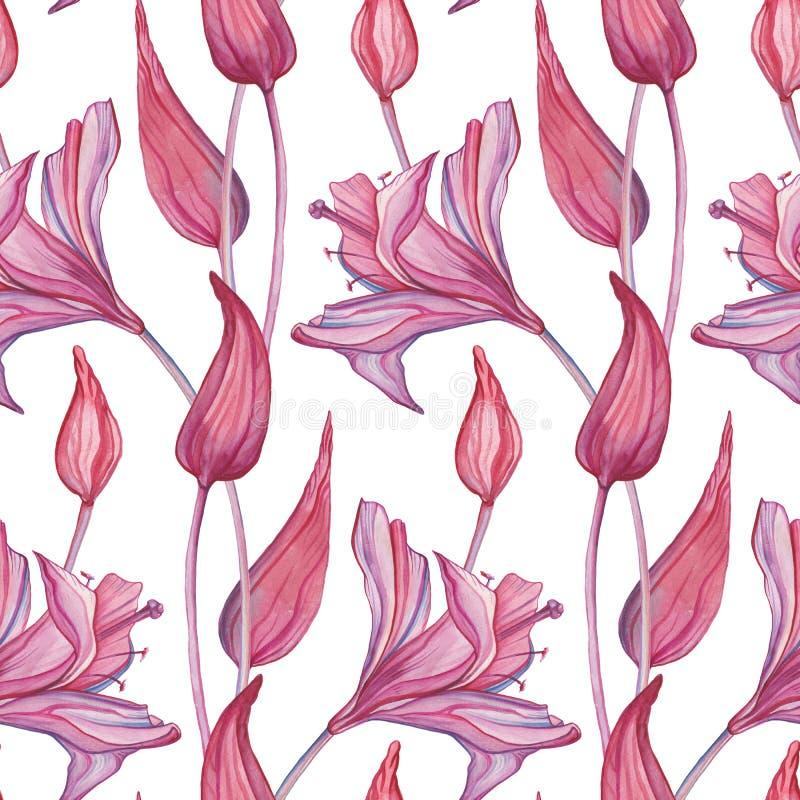 Ręka Rysujący bezszwowy wzór Abstrakcjonistyczni kwiaty ilustracji