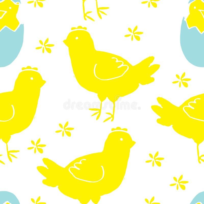 Ręka Rysujący Bezszwowy wzór dla Wielkanocnego projekta ilustracji